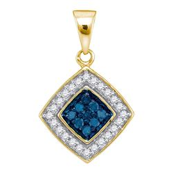 0.25 CTW Blue Color Diamond Diagonal Square Pendant 10KT Yellow Gold - REF-14M9H