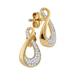 0.18 CTW Diamond Teardrop Earrings 10KT Yellow Gold - REF-19W4K