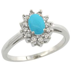 Natural 0.67 ctw Turquoise & Diamond Engagement Ring 10K White Gold - REF-39V6F