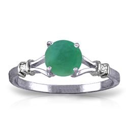 Genuine 0.62 ctw Emerald & Diamond Ring Jewelry 14KT White Gold - REF-33F6Z