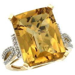 Natural 12.14 ctw Whisky-quartz & Diamond Engagement Ring 14K Yellow Gold - REF-62H2W