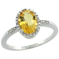 Natural 1.2 ctw Citrine & Diamond Engagement Ring 14K White Gold - REF-23Z2Y
