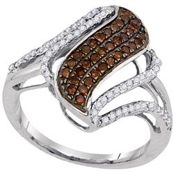 0.50 CTW Cognac-brown Color Diamond Openwork Strand Ring 10KT White Gold - REF-34H4M