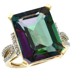 Natural 12.14 ctw Mystic-topaz & Diamond Engagement Ring 14K Yellow Gold - REF-66V2F
