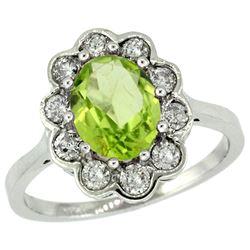 Natural 2.73 ctw Peridot & Diamond Engagement Ring 10K White Gold - REF-70R6Z