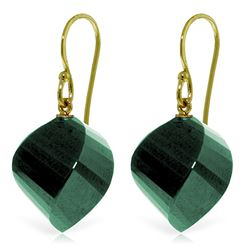 Genuine 30.5 ctw Green Sapphire Corundum Earrings Jewelry 14KT Yellow Gold - REF-39V3W