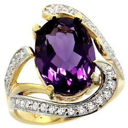 Natural 6.22 ctw amethyst & Diamond Engagement Ring 14K Yellow Gold - REF-134F9N