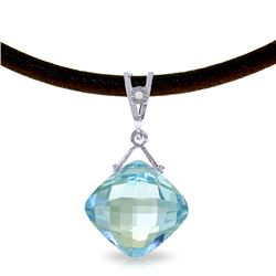 Genuine 8.76 ctw Blue Topaz & Diamond Necklace Jewelry 14KT White Gold - REF-30F6Z