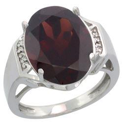Natural 11.02 ctw Garnet & Diamond Engagement Ring 14K White Gold - REF-80W2K