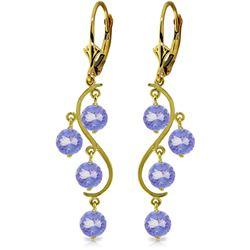 Genuine 4 ctw Tanzanite Earrings Jewelry 14KT Yellow Gold - REF-74R2P