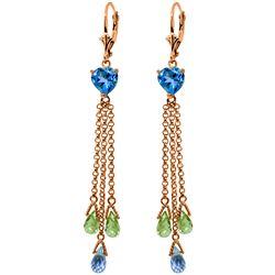 Genuine 9.5 ctw Blue Topaz & Peridot Earrings Jewelry 14KT Rose Gold - REF-62W2Y