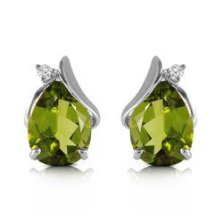 Genuine 4.26 ctw Peridot & Diamond Earrings Jewelry 14KT White Gold - REF-46T2A