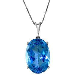 Genuine 8 ctw Blue Topaz Necklace Jewelry 14KT White Gold - REF-36K3V