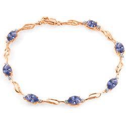 Genuine 3.01 ctw Tanzanite & Diamond Bracelet Jewelry 14KT Rose Gold - REF-115V3W