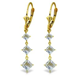 Genuine 4.79 ctw Aquamarine Earrings Jewelry 14KT Yellow Gold - REF-63T2A