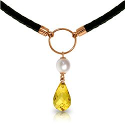 Genuine 7.5 ctw Citrine & Pearl Necklace Jewelry 14KT Rose Gold - REF-52K9V