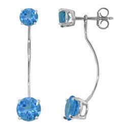 Genuine 4.3 ctw Blue Topaz Earrings Jewelry 14KT White Gold - REF-30X6M