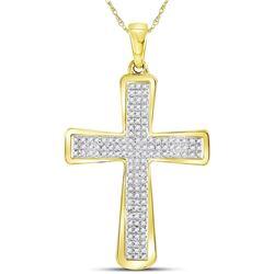 0.33 CTW Mens Diamond Roman Cross Charm Pendant 10KT Yellow Gold - REF-30Y2X