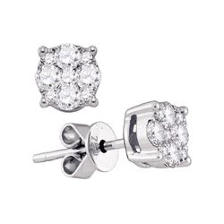 0.89 CTW Diamond Cluster Stud Earrings 18KT White Gold - REF-172W4K