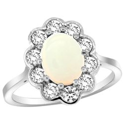 Natural 1.64 ctw Opal & Diamond Engagement Ring 10K White Gold - REF-69N6G