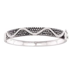 2.55 CTW Black Color Diamond Bangle Bracelet 14KT White Gold - REF-149H9M
