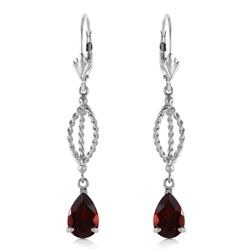 Genuine 3 ctw Garnet Earrings Jewelry 14KT White Gold - REF-45H5X