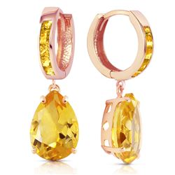 Genuine 13.2 ctw Citrine Earrings Jewelry 14KT Rose Gold - REF-68Z7N