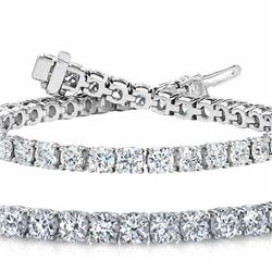 Natural 7.04ct VS-SI Diamond Tennis Bracelet 18K White Gold - REF-672M5X