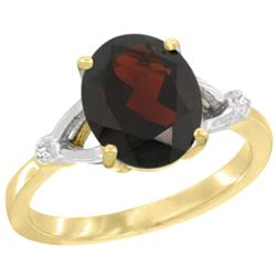Natural 2.41 ctw Garnet & Diamond Engagement Ring 10K Yellow Gold - REF-27R9Z