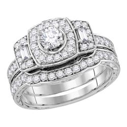 0.98 CTW Diamond Bridal Wedding Engagement Ring 14KT White Gold - REF-127X4Y