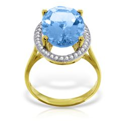 Genuine 7.58 ctw Blue Topaz & Diamond Ring Jewelry 14KT Yellow Gold - REF-85A2K