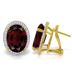 Genuine 12.46 ctw Garnet & Diamond Earrings Jewelry 14KT Yellow Gold - REF-130W2Y