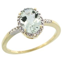 Natural 1.2 ctw Green-amethyst & Diamond Engagement Ring 14K Yellow Gold - REF-23Y2X