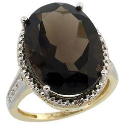 Natural 13.6 ctw Smoky-topaz & Diamond Engagement Ring 10K Yellow Gold - REF-59R2Z