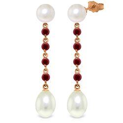 Genuine 11 ctw Pearl & Ruby Earrings Jewelry 14KT Rose Gold - REF-31V4W