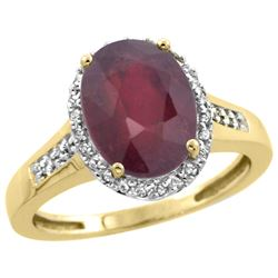 Natural 2.49 ctw Ruby & Diamond Engagement Ring 10K Yellow Gold - REF-37H3W