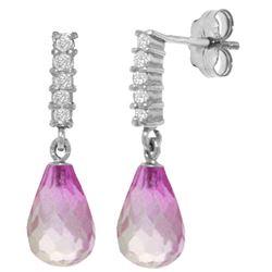 Genuine 4.65 ctw Pink Topaz & Diamond Earrings Jewelry 14KT White Gold - REF-36T2A