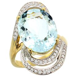 Natural 11.2 ctw aquamarine & Diamond Engagement Ring 14K Yellow Gold - REF-182F5N