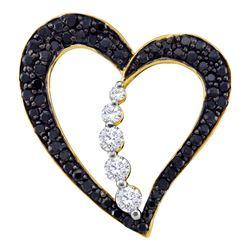 0.49 CTW Black Color Diamond Heart Journey Pendant 10KT Yellow Gold - REF-32N9F