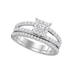 1 CTW Diamond Princess Bridal Engagement Ring 14KT White Gold - REF-112X5Y