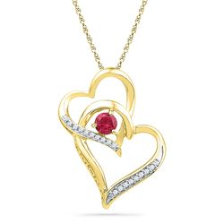 0.31 CTW Created Ruby Heart Love Pendant 10KT Yellow Gold - REF-9Y7X