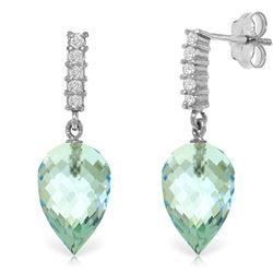 Genuine 22.65 ctw Blue Topaz & Diamond Earrings Jewelry 14KT White Gold - REF-63M5T