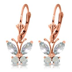 Genuine 1.24 ctw Aquamarine Earrings Jewelry 14KT Rose Gold - REF-41R2P