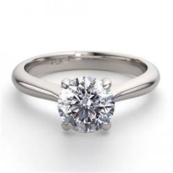 14K White Gold 0.91 ctw Natural Diamond Solitaire Ring - REF-243R2M-WJ13210