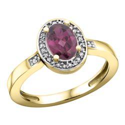 Natural 1.08 ctw Rhodolite & Diamond Engagement Ring 10K Yellow Gold - REF-25G9M