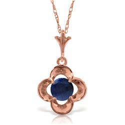 Genuine 0.55 ctw Sapphire Necklace Jewelry 14KT Rose Gold - REF-25K4V