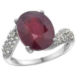 Natural 5.65 ctw ruby & Diamond Engagement Ring 14K White Gold - REF-60Z3Y
