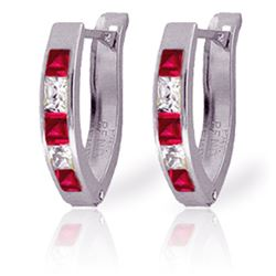 Genuine 1.26 ctw Ruby & White Topaz Earrings Jewelry 14KT White Gold - REF-26F2Z