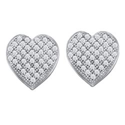 0.25 CTW Diamond Heart Earrings 10KT White Gold - REF-20F9N