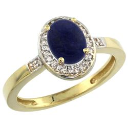 Natural 0.83 ctw Lapis & Diamond Engagement Ring 14K Yellow Gold - REF-30W2K